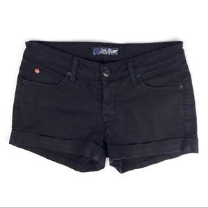 Hudson Croxley Shorts Black Denim Cuffed Stretch